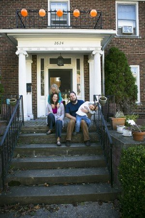 The Hayes family at their new home