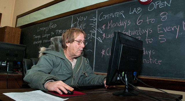 Loren Zbitniewski working in the computer lab