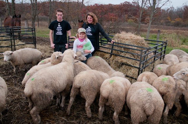 Laura Deyoung with son Christian and daughter Erika  - The Spicy Lamb Farm