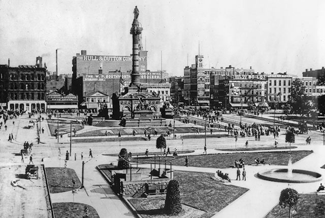 Southeast quadrant of Public Square, ca. 1895. WRHS.