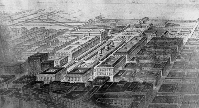 Bird's-eye view of the 1903 Group Plan by Daniel Burnham. WRHS.