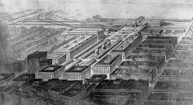 Bird's-eye view of the 1903 Group Plan by Daniel Burnham. WRHS.
