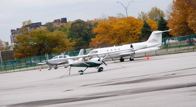 Plane at Burke Lakefront Airport.