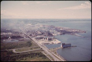 Aerial view of Bethlehem Steel Plant at Lackawanna on the shores of Lake Erie just below Buffalo, circa 1970. Wikimedia Commons, Environmental Protection Agency.