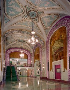 The lobby of the Powers Auditorium, nee Warner Theatre. Photo courtesy of the Mahoning County Convention and Visitors Bureau.