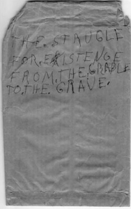 """The cover of Christine Walley's great-grandfather's unpublished memoir, """"The Strugle for Existence from the Cradle to the Grave."""""""