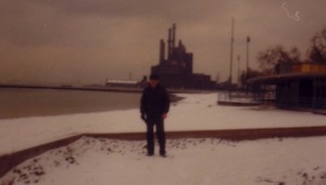 Christine Walley's father and the steel mill where he worked. Photo via Christine Walley.