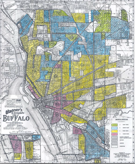 Buffalo map from 1937. Neighborhoods in yellow, like Buffalo Central's Broadway-Fillmore, were in decline, according to investors [Image credit: Henry Louis Taylor Jr.]