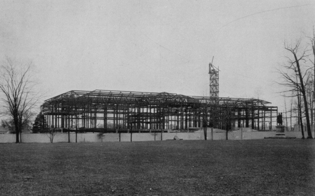 Steel frame of the CMA building from the north, as it appeared March 17, 1914