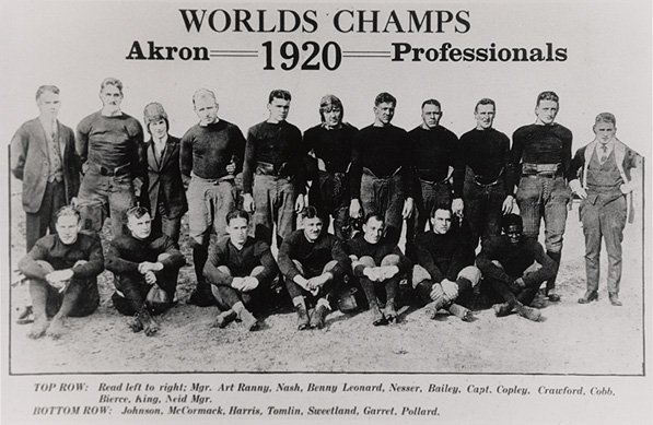 Pollard with the 1920 Akron Professionals [credit: Wikimedia Commons]