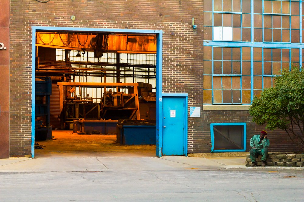 Finkl produced a range of steel products at its Lincoln Park facility before moving to the far Southeast Side last year.  A worker, photographed here in November 2013, takes a break from his shift. (Robin Amer)