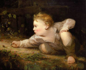 Boy Playing Marbles by Blythe