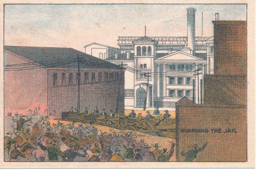 A postcard depicting the defense of the Hamilton County Jail during the 1884 Courthouse Riot.