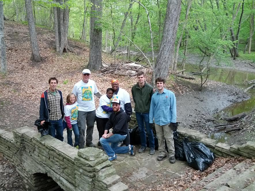 Al Van Kerckhove and volunteers at the Rouge Rescue river cleanup and stewardship event, May 2014, Rouge Park work site in Detroit. Courtesy of Friends of the Rouge.