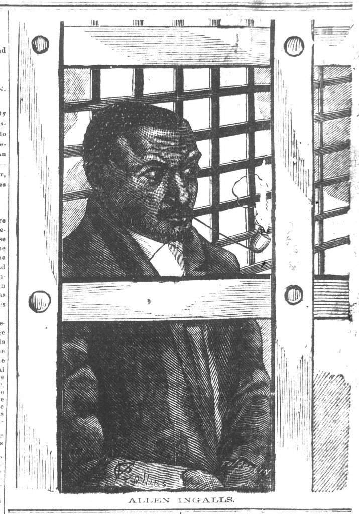 A Cincinnati Commercial Gazette drawing of the burker Allen Ingalls smoking his pipe in a cell at the Hamilton County Jail, published February 24, 1884.