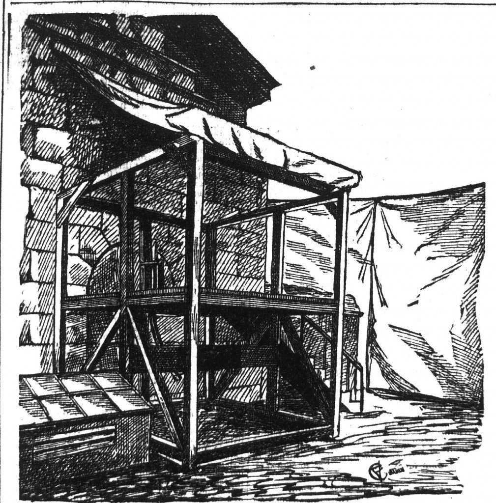A Cincinnati Commercial Gazette rendering of the scaffold at the Hamilton County Jail, May 2, 1884.