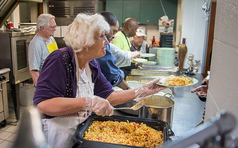 Kitchen volunteers at Trinity Lutheran Church in Lakewood