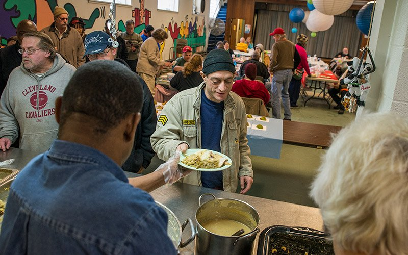 Thankful for a good meal at Trinity Lutheran Church in Lakewood