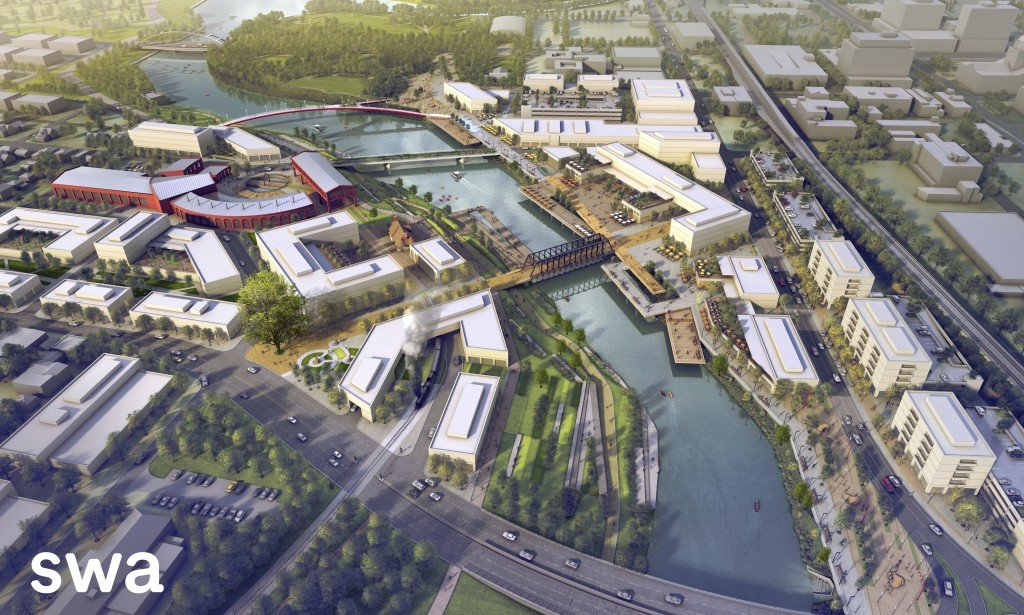 A rendering of proposed riverfront development plans in Fort Wayne, Indiana. Headwaters Junction includes the red buildings in the upper left hand corner of the rendering. [credit SWA Group]