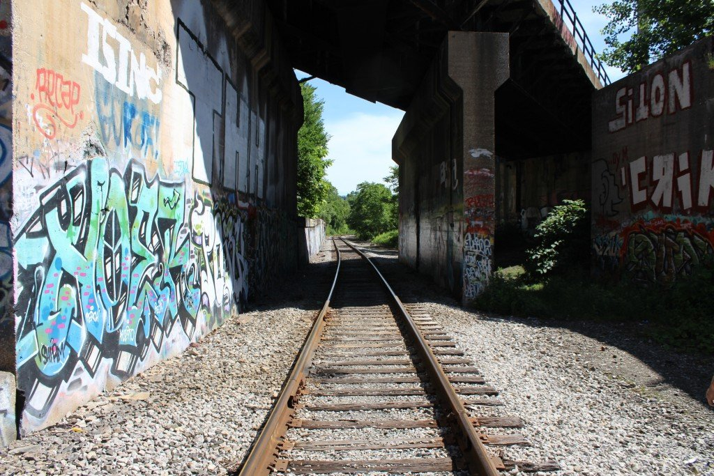 graffiti on RR tracks near greenway