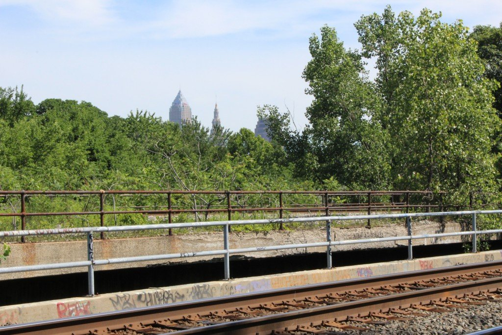 view of downtown from RR tracks