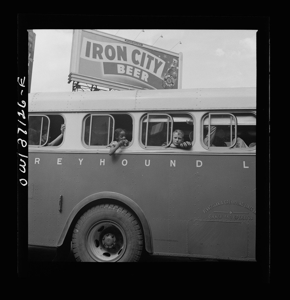 Esther Bubley, A bus ready to leave the Greyhound terminal, 1943.