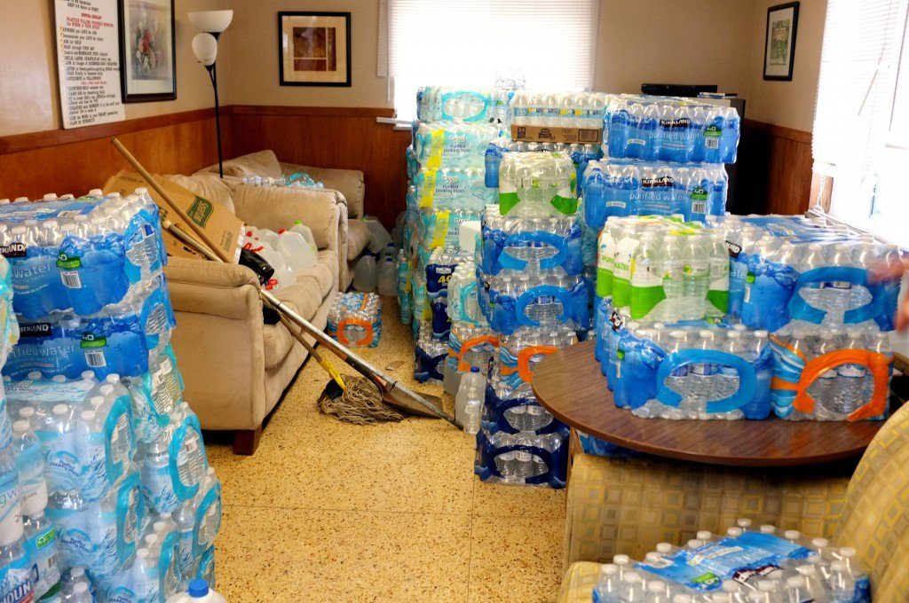 Just one room full of donated water of Pastor Bobby Jackson's shelter, Mission of Hope, which has been receiving massive donations since he appeared on MSNBC to talk about the current water crisis in Flint.