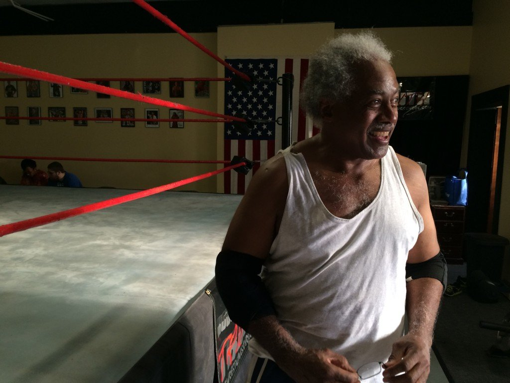 "Leo ""Father Time"" Napier at the House of Truth Wrestling School in Center Line, Michigan, just outside Detroit. Napier got his start and continues to train with Pure Pro Wrestling in Flint, but supplements his training at the House of Truth, which led to his debut in the Ring of Honor."