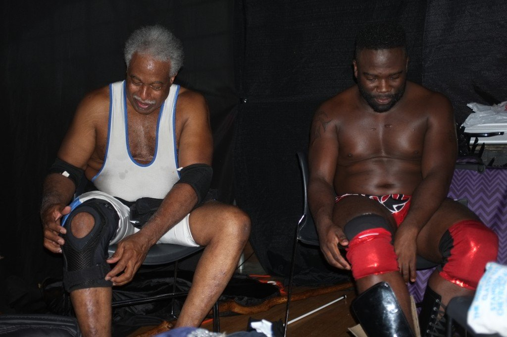 Leo Napier and Owen Travers discuss their match backstage at a Ring of Honor event Sept. 11, 2015.