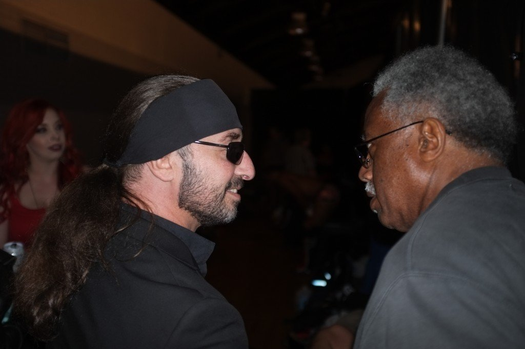 """Leo Napier talks with Martin """"Truth Martini"""" Krcic after his debut match with the Ring of Honor. Krcic, who helped train Napier, is a producer with Ring of Honor and offered him the match."""