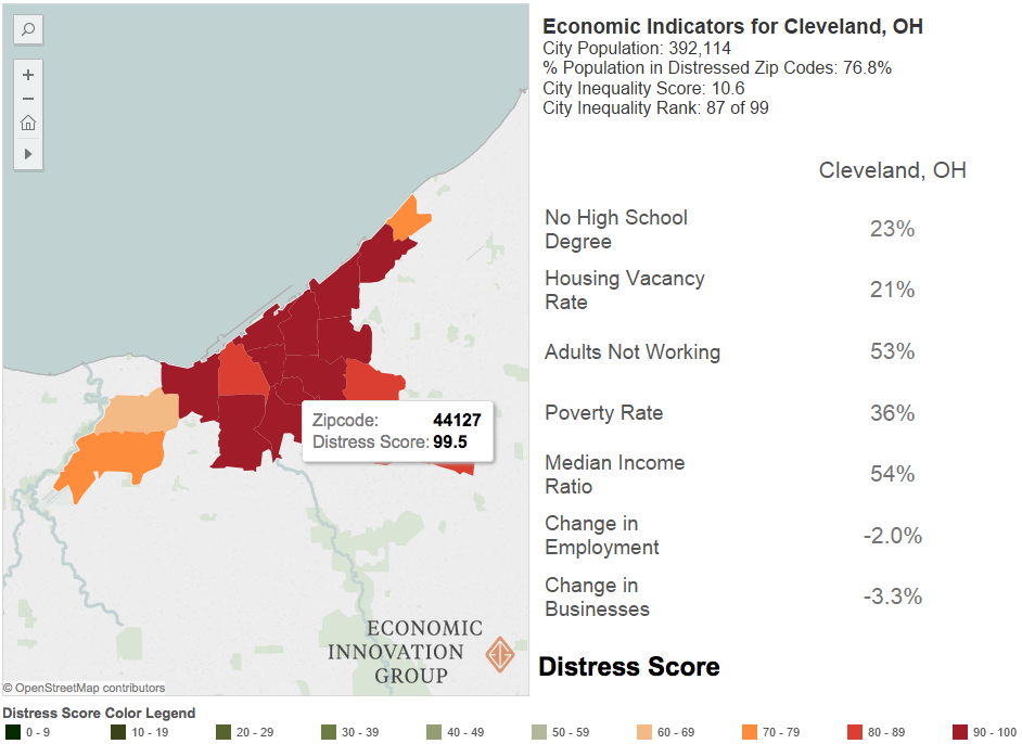 Figure 1 - Cleveland's economic well-being is equally low in most parts of the city.