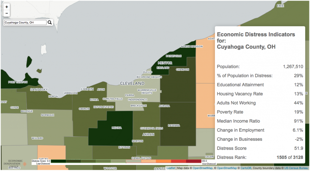 Figure 2 - As wealthy residents have left Cleveland, they've moved into suburbs in and around Cuyahoga County.