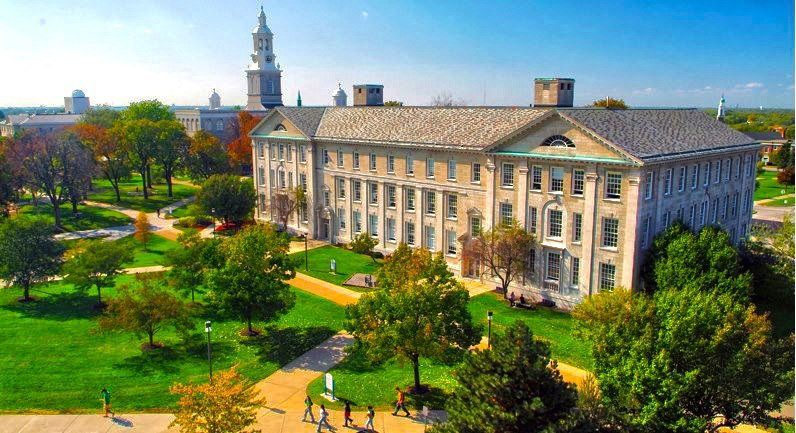 Wide shot of UB's Crosby Hall with Hayes Hall in the background. [credit: Davidhar, via Wikimedia Commons]