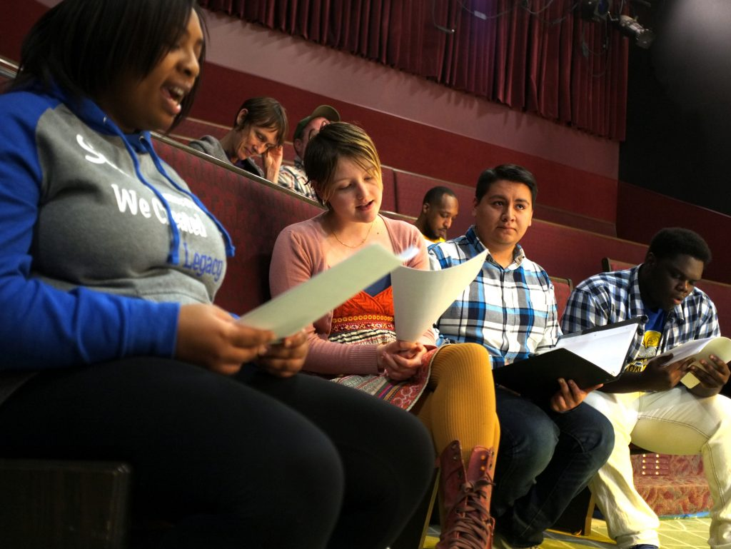 "From left, Alazsha Donerson, Layla Meillier, Latroy Childress, and Colin Edward rehearse at Flint Youth Theatre for ""The Most [Blank] City in America,"" a play about Flint, Michigan."