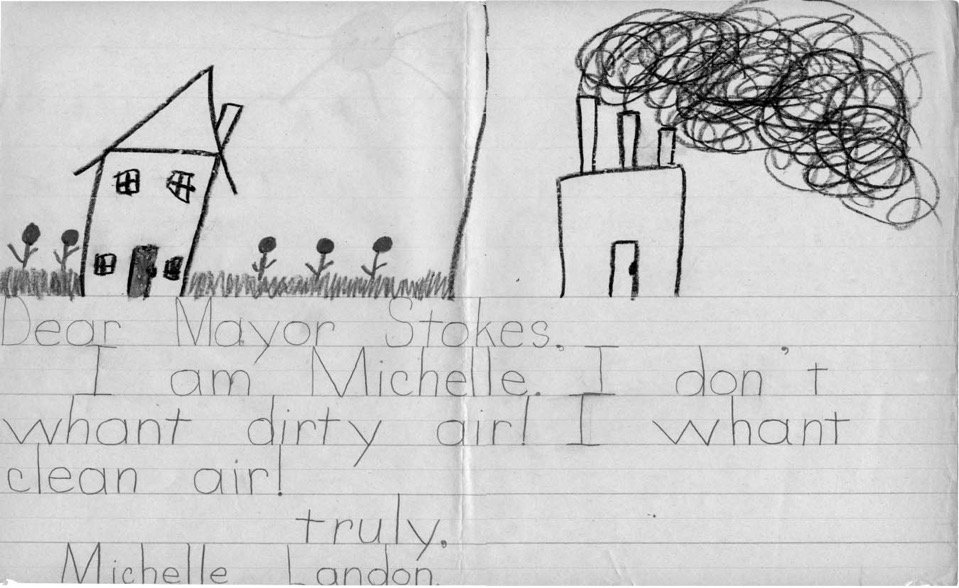 Many of the suburban children who wrote to Mayor Stokes complained about pollution as an urban phenomenon. The first-grader Michelle Landon used green and black crayons to contrast her beautiful middle-class home in Lyndhurst with the heavily polluted environment of Cleveland. Carl Stokes Papers, container 75, folder 1435. Courtesy of Western Reserve Historical Society.