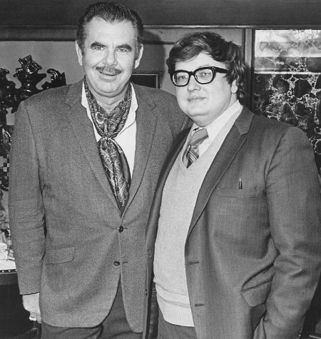 Russ Meyer and Roger Ebert, 1970 [credit: Roger Ebert, via Wikimedia Commons]