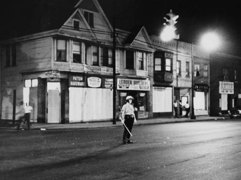 Guardsman on night watch. The Ohio National Guard was called in to assist the Cleveland police with the Hough Riots of 1966. Photo: Cleveland State University, Michael Schwartz Library, Cleveland Press Collection.