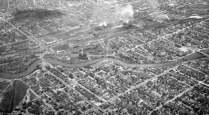 Flint, Michigan - Buick Plant and Flint River