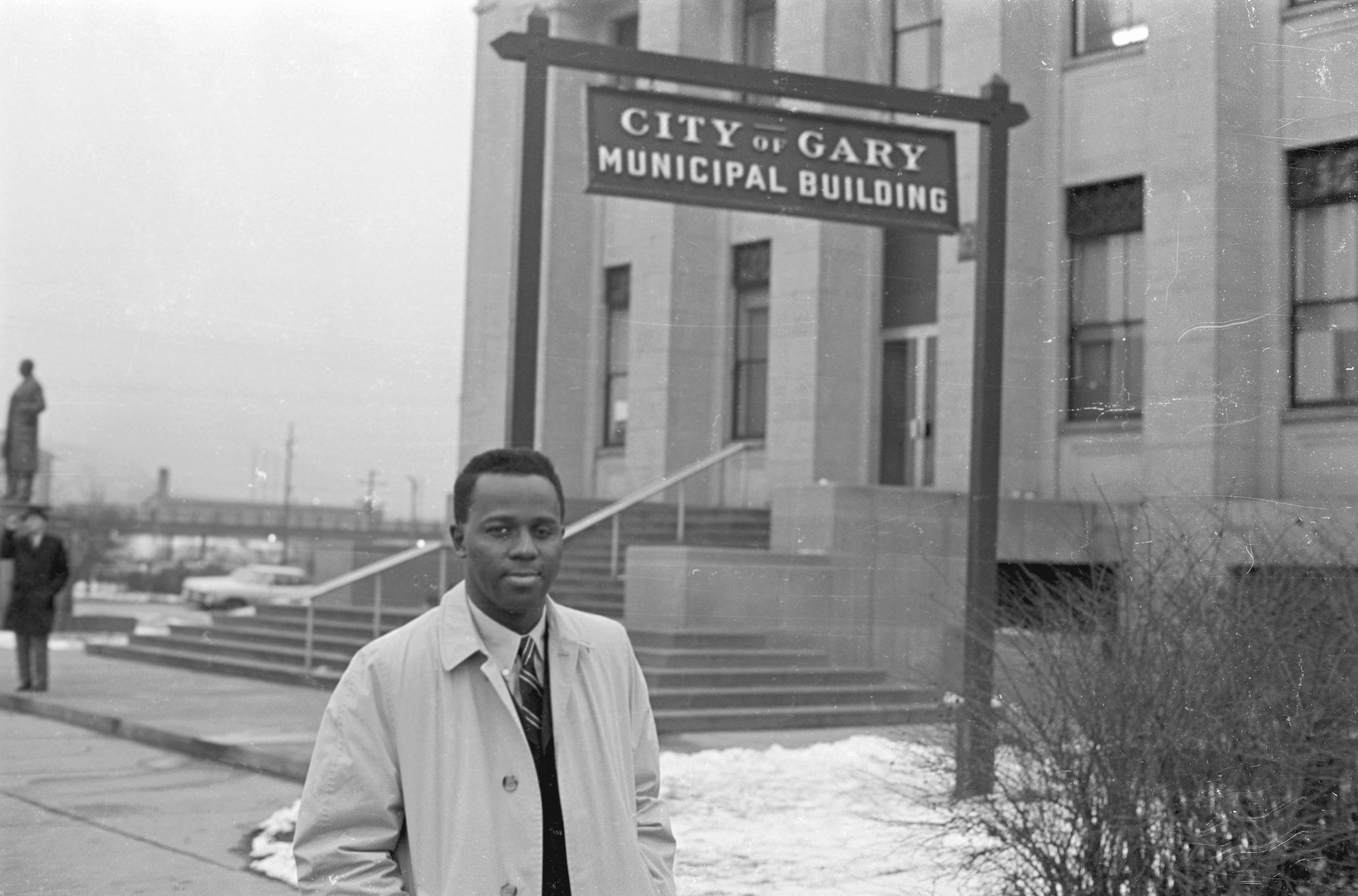 Mayor Richard G. Hatcher Standing in Front of Municipal Building