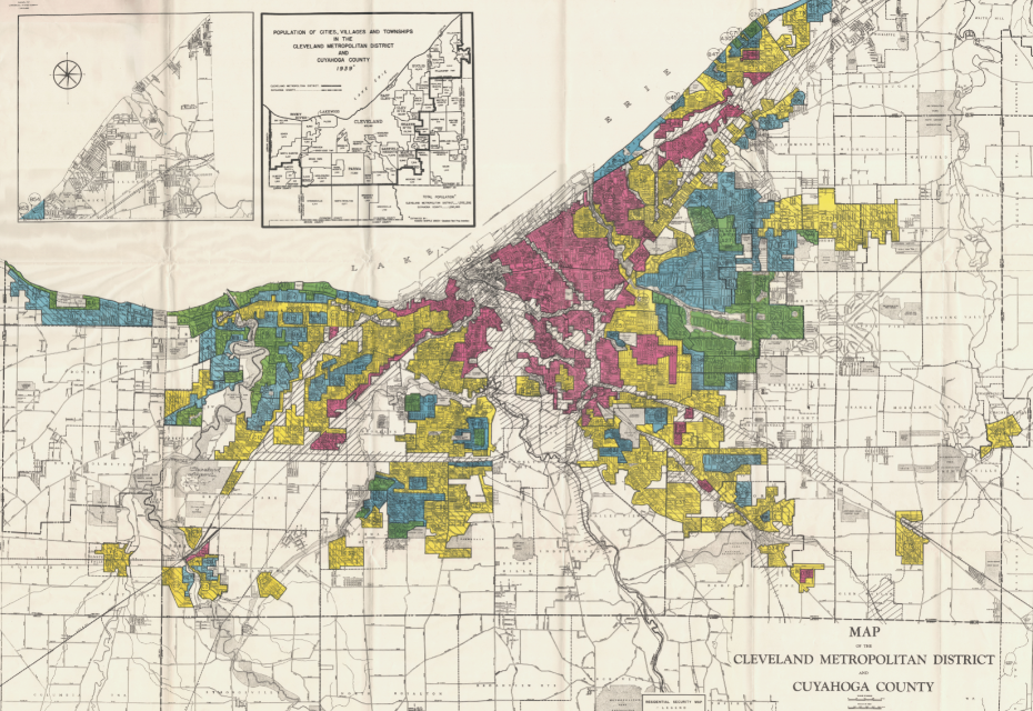 Cuyahoga County redlining map
