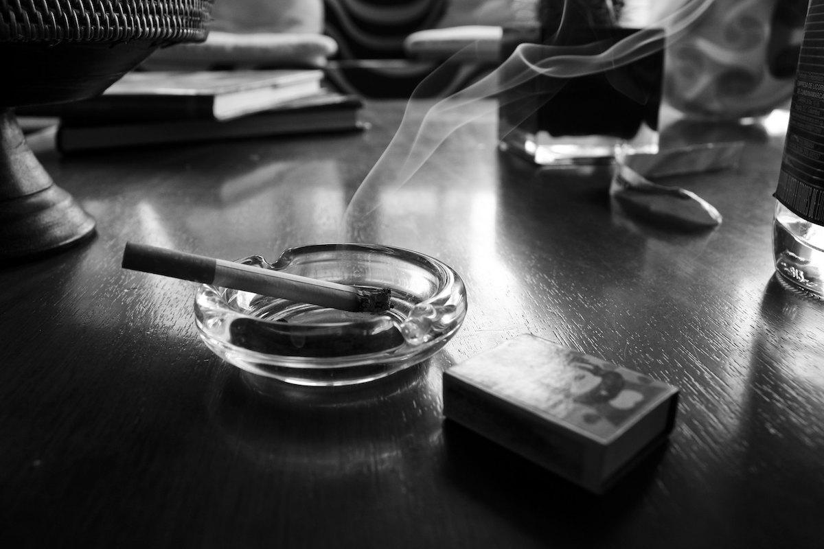 Carvajal - cigarette in ashtray